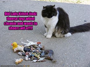 Old Lady Kitteh findz theese toyz whiel cleanin and wantz to shaerz wif u!!1!