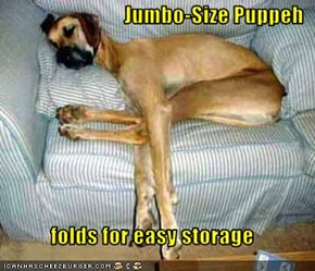 Jumbo-Size Puppeh  folds for easy storage