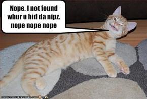 Nope. I not found whur u hid da nipz. nope nope nope