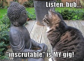 "Listen, bub...  ""inscrutable"" is MY gig!"