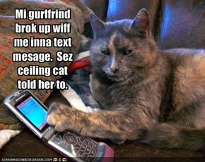 Mi gurlfrind brok up wiff me inna text mesage.  Sez ceiling cat told her to.