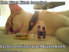 Itteh Bitteh Kitteh Commiteh  has leftz offeringz for deh Biggeh Kitteh