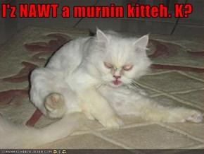 I'z NAWT a murnin kitteh. K?