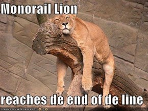 Monorail Lion  reaches de end of de line