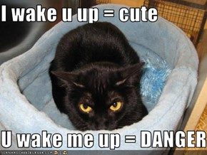 I wake u up = cute  U wake me up = DANGER