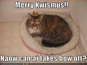 Merry Kwismus!!  Naow can ai takes bow off?