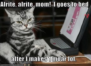 Alrite, alrite, mom!  I goes to bed  after I makes 1 moar lol.