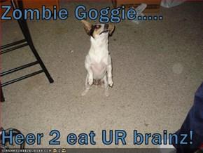 Zombie Goggie.....  Heer 2 eat UR brainz!