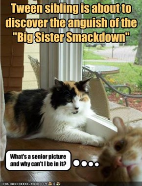 "Tween sibling is about to discover the anguish of the ""Big Sister Smackdown"""