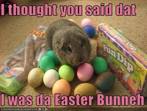 I thought you said dat  I was da Easter Bunneh
