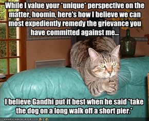 While I value your *unique* perspective on the matter, hoomin, here's how I believe we can most expediently remedy the grievance you have committed against me...