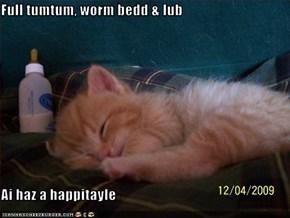 Full tumtum, worm bedd & lub  Ai haz a happitayle