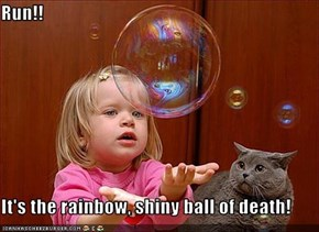 Run!!  It's the rainbow, shiny ball of death!
