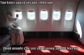 You know you're insane when you  think people can see you waving 30,000 feet up