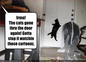 Irma!  The cats gone thru the door again! Gotta stop it watchin those cartoonz.