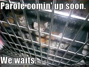 Parole comin' up soon.  We waits.