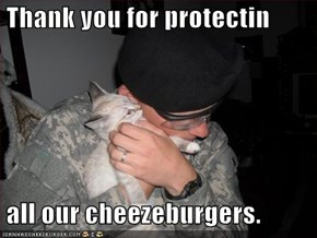 Thank you for protectin   all our cheezeburgers.