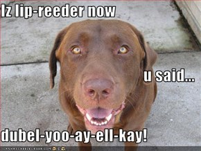 Iz lip-reeder now u said... dubel-yoo-ay-ell-kay!