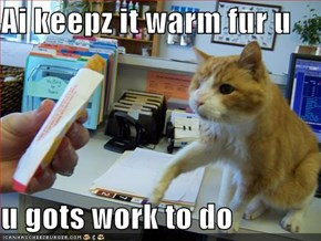 Ai keepz it warm fur u  u gots work to do