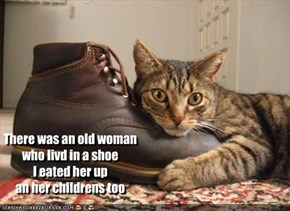 There was an old woman who livd in a shoe I eated her up an her childrens too