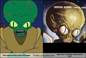 "The news anchor from futurama Totally Looks Like Alien from ""Invasion of the saucer-men"""