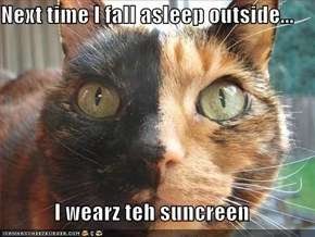 Next time I fall asleep outside...  I wearz teh suncreen