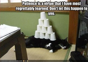Patience is a virtue that I have most regrettably learned. Don't let this happen to you.