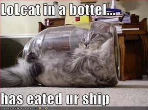 LoLcat in a bottel...  has eated ur ship