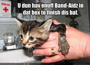 U dun hav enuff Band-Aidz in dat box to finish dis baf.