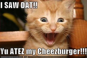 I SAW DAT!!  Yu ATEZ my Cheezburger!!!