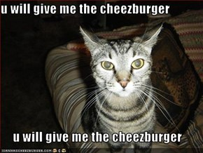 u will give me the cheezburger  u will give me the cheezburger