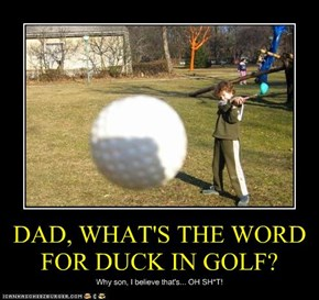DAD, WHAT'S THE WORD FOR DUCK IN GOLF?