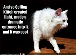 And so Ceiling Kitteh created light,  made a dramatic entrance into it,  and it was cool
