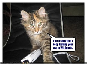 I'm so sorry that I keep kicking your ass in Wii Sports.