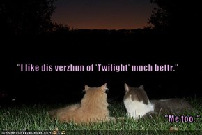 """I like dis verzhun of 'Twilight' much bettr."" ""Me too."""