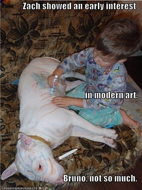 Zach showed an early interest in modern art. Bruno, not so much.