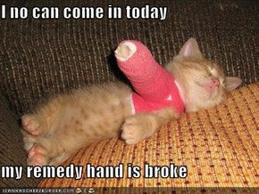 I no can come in today  my remedy hand is broke