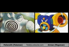 Poliwraith (Pokemon) Totally Looks Like Airman (Megaman)