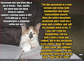 """Put this document in a new version and revise both handwritten and taped transcription inserts. Have the entire document proofread and E-mail me a clean and a redline, and .pdf my changes back to me.  If you can't read my handwriting, call me. And e-mail"