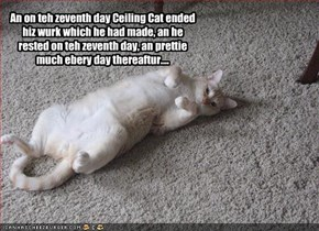 An on teh zeventh day Ceiling Cat ended hiz wurk which he had made, an he rested on teh zeventh day, an prettie much ebery day thereaftur....