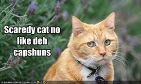 Scaredy cat no like deh capshuns