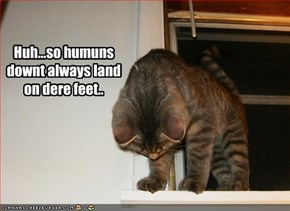 Huh...so humuns downt always land on dere feet..