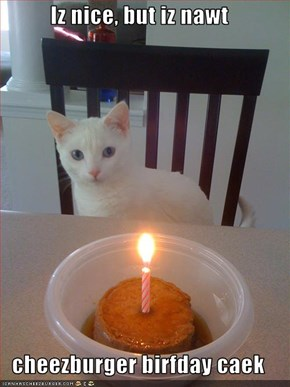 Iz nice, but iz nawt  cheezburger birfday caek