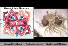Hemoglobin molecule Totally Looks Like Flying Spaghetti Monster