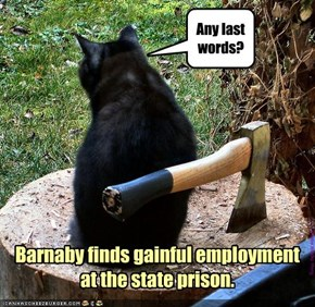 Barnaby finds gainful employment  at the state prison.