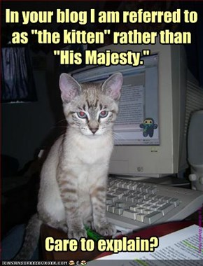 "In your blog I am referred to as ""the kitten"" rather than ""His Majesty."""