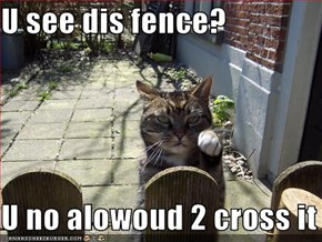U see dis fence?  U no alowoud 2 cross it