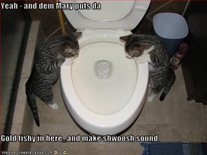 Yeah - and dem Mary puts da   Gold fishy in here,,,and make shwoosh sound