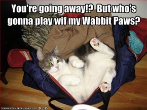 You're going away!?  But who's gonna play wif my Wabbit Paws?