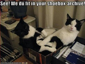 See! We du fit in your shoebox-archive!